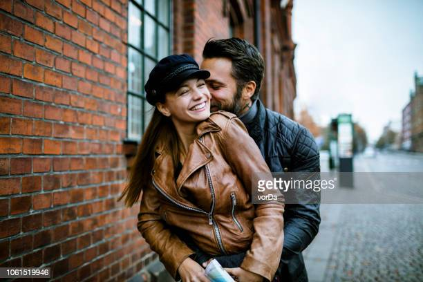 couple - leather jacket stock pictures, royalty-free photos & images