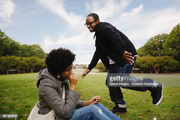 Couple playing in park