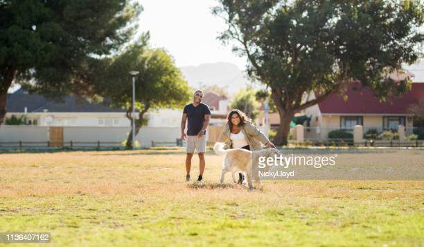 couple playing with dog - off leash dog park stock pictures, royalty-free photos & images
