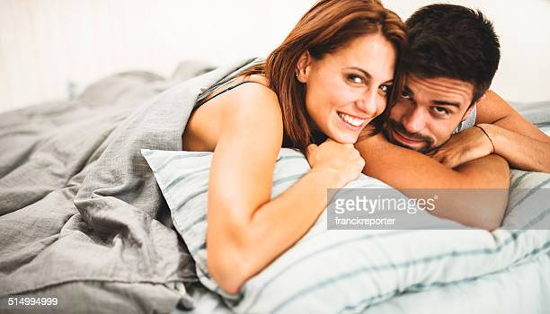 couple portrait on the bed