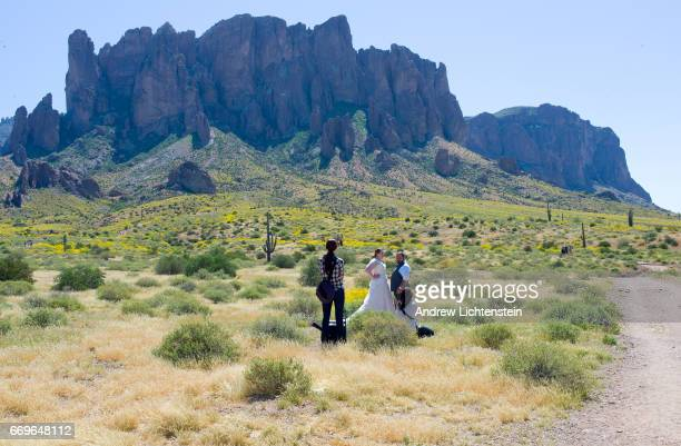 Lost Dutchman State Park Arizona Ed A Pose For Wedding Photographs In The Sonoran Desert S Supersion Mountains On March 25 2017