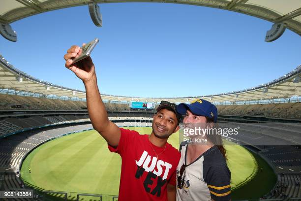 A couple pose to take a selfie at Optus Stadium on January 21 2018 in Perth Australia The 60000 seat multipurpose Stadium features the biggest LED...