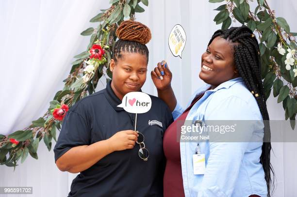 A couple poses for a photo after Lifetime covered the cost of their marriage license to celebrate the season 7 premier of 'Married at First Sight' at...