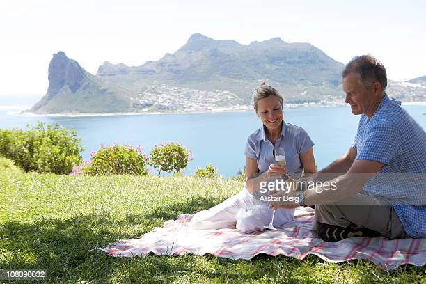 couple pouring drinks on blanket - newhealth stock pictures, royalty-free photos & images