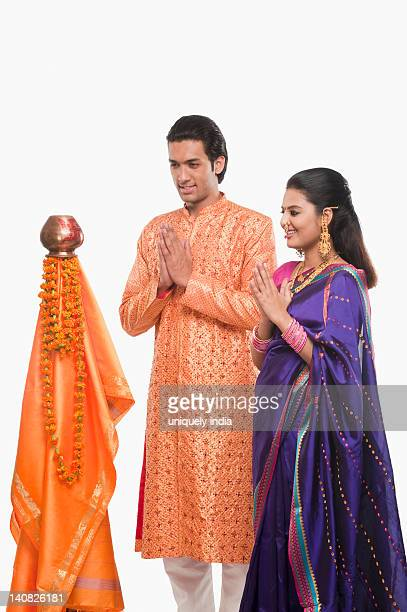 Couple praying on Gudi Padwa festival