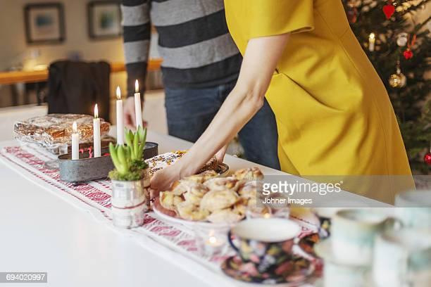 Couple preparing christmas dinner