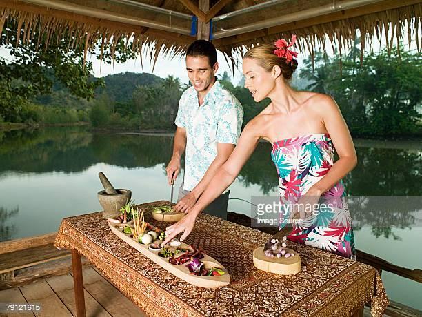 Couple preparing food