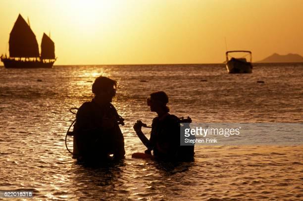 Couple Preparing for Dive on Bonaire