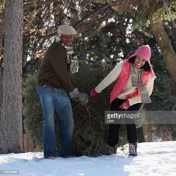 couple pulling christmas tree through snowy field - african american christmas images stock pictures, royalty-free photos & images