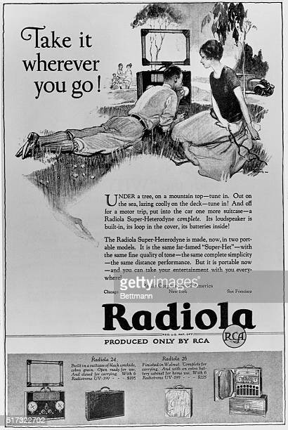 A couple relaxes outside and listens to a portable 'Radiola' in a 1925 advertisement from RCA
