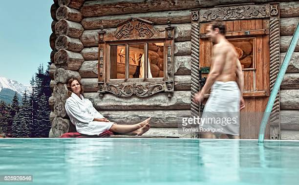 Couple relaxing at hot spring