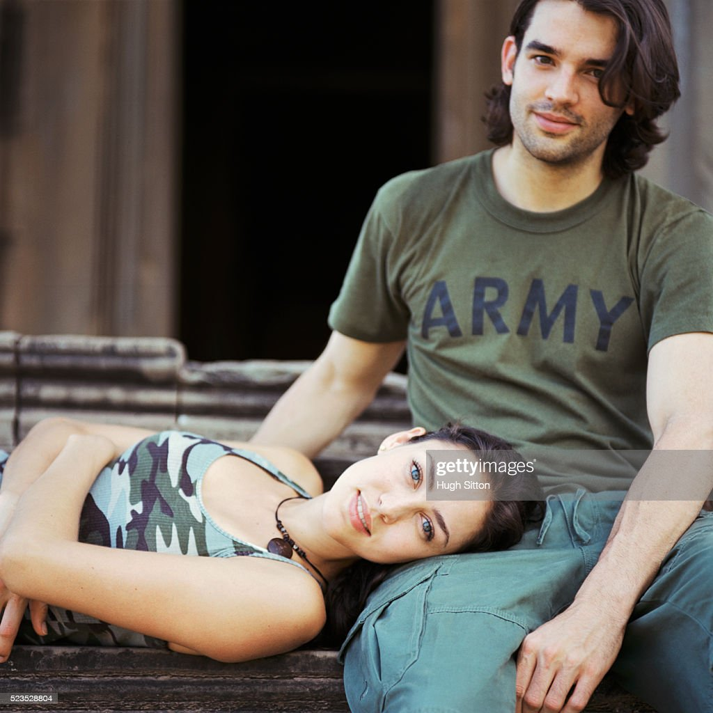 Couple Relaxing at Temple : Stock Photo