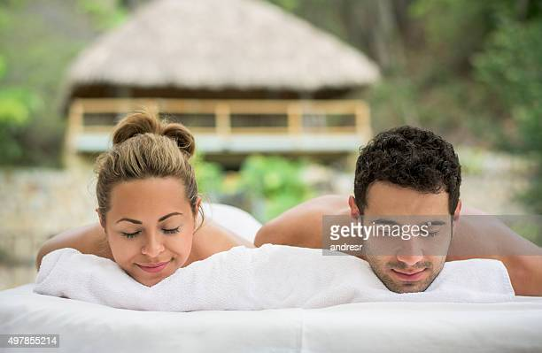 Couple relaxing at the spa