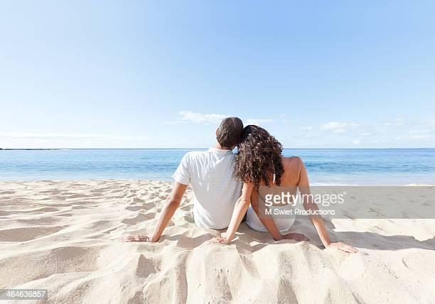 Couple relaxing beach
