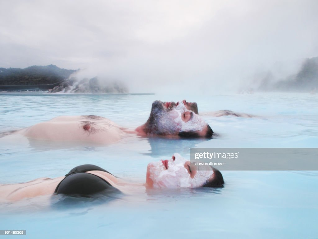 Couple Relaxing in the Blue Lagoon in Iceland : Stock Photo