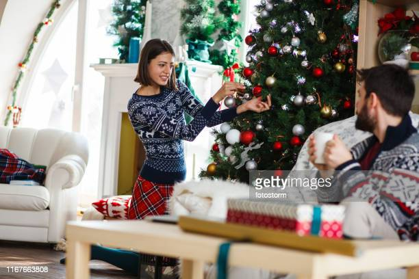 Couple relaxing on a Christmas day