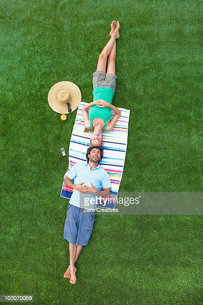 Couple resting in a garden