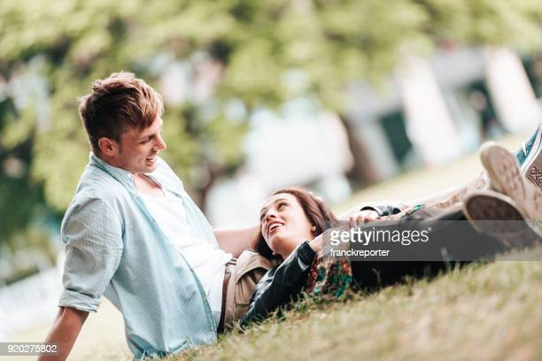 couple resting in berlin on summer