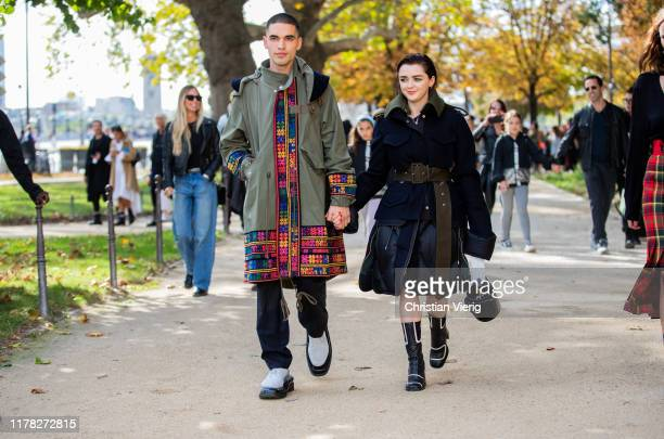 Couple Reuben Selby and Maisie Williams seen outside Sacai during Paris Fashion Week Womenswear Spring Summer 2020 on September 30, 2019 in Paris,...