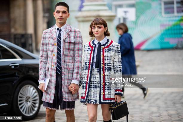 Couple Reuben Selby and Maisie Williams seen outside Thom Browne during Paris Fashion Week Womenswear Spring Summer 2020 on September 29, 2019 in...