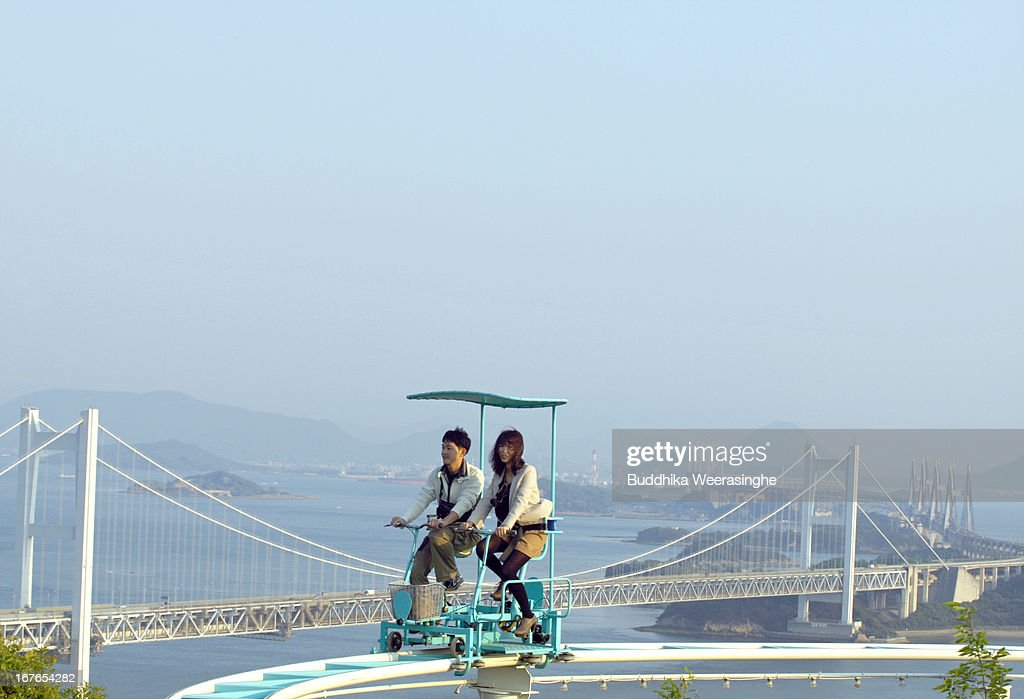 Pedal Powered Sky Cycle Roller Coaster Attract Visitors Photos And - Pedal powered skycycle rollercoaster japan amazing