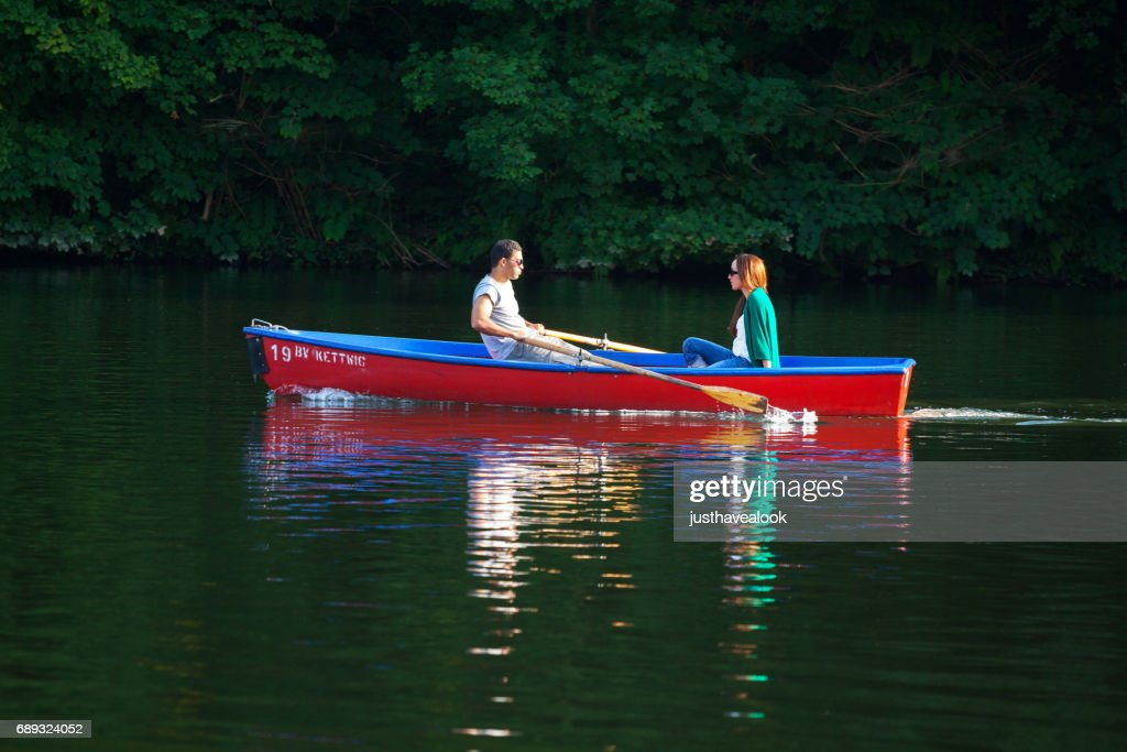 Couple rowing on Ruhr : Stock Photo