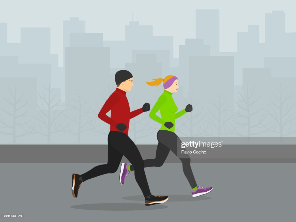 Couple running through city streets during winter season illustration : Stock Photo