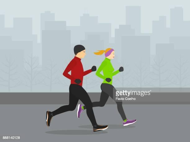 Couple running through city streets during winter season illustration