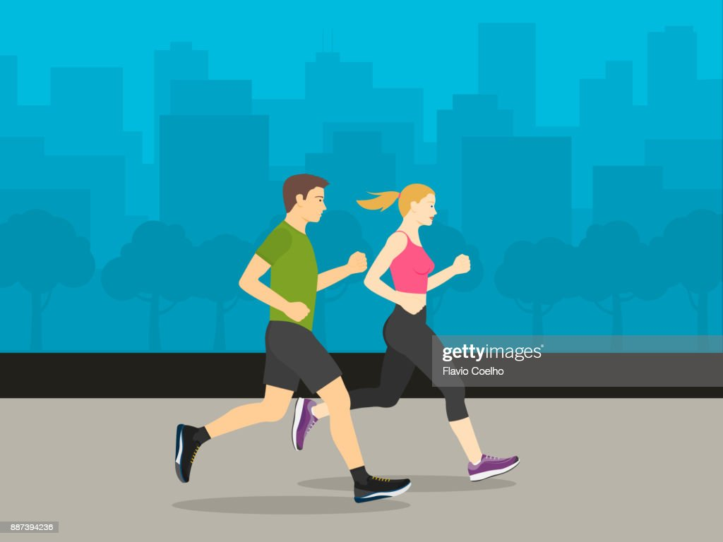 Couple running through city streets illustration : Stock Photo