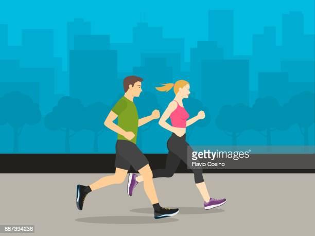 Couple running through city streets illustration