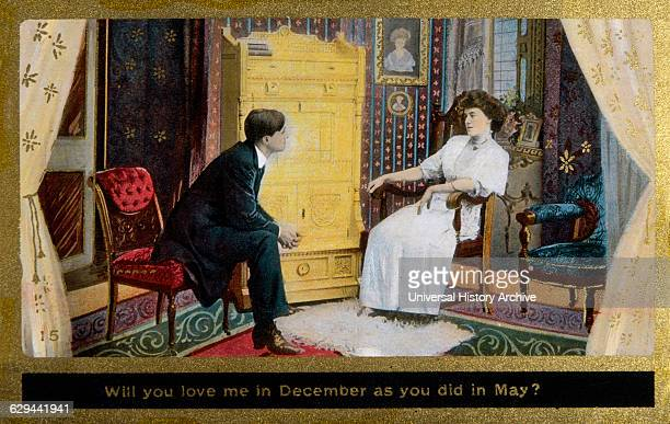 Couple Seated in Parlor Will You Love Me in December as You did in May Postcard circa 1910