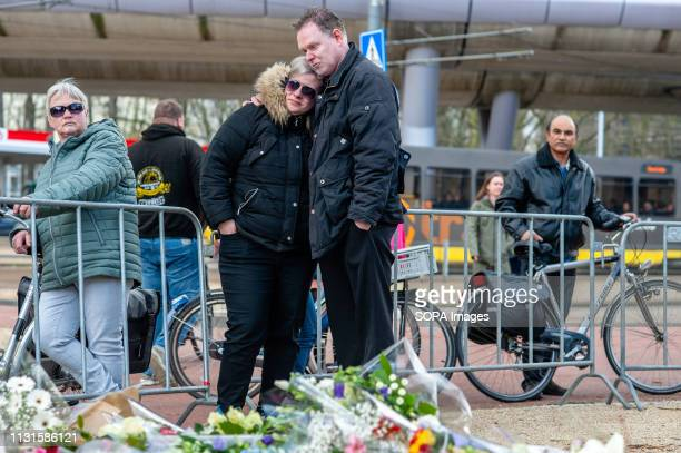 OKTOBERPLEIN 24 UTRECHT UTRECHT NETHERLANDS A couple seen crying after leaving a photo of one of the victims at the memorial site The day after three...