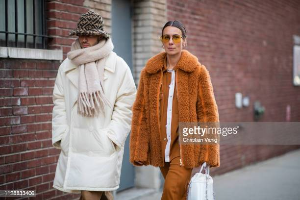 A couple seen outside Sies Marjan during New York Fashion Week Autumn Winter 2019 on February 10 2019 in New York City