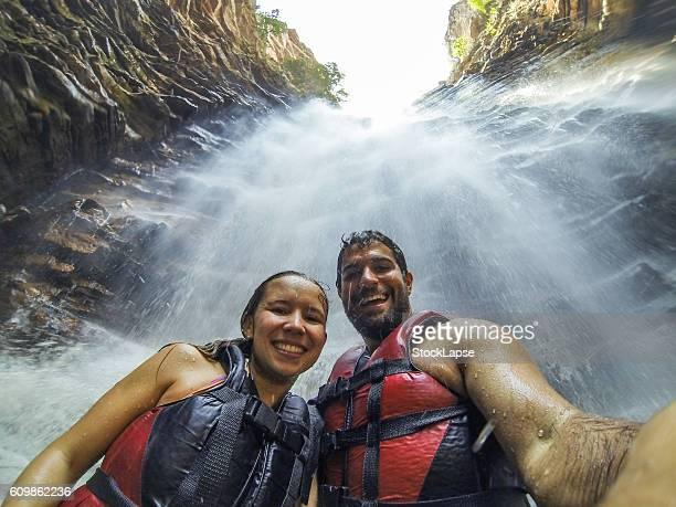 Couple selfie in Cachoeira do buracao - Chapada Diamantina - National Park