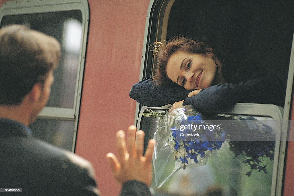 Couple separated by train : Stock Photo