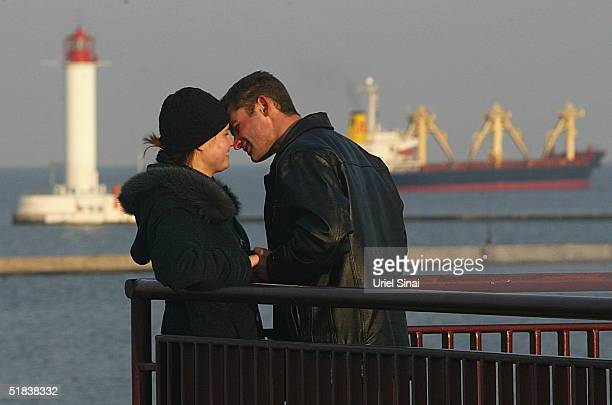 A couple share a romantic moment December 8 2004 overlooking the Ukranian port city of Odessa Situated at the crossroads of several of the world's...