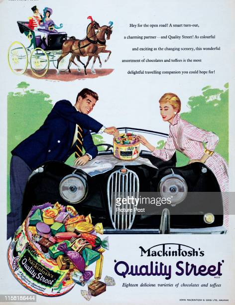 A couple share Mackintosh's Quality Street chocolates rested on the hood of their car while checking a map Original Publication Picture Post Ad Vol...