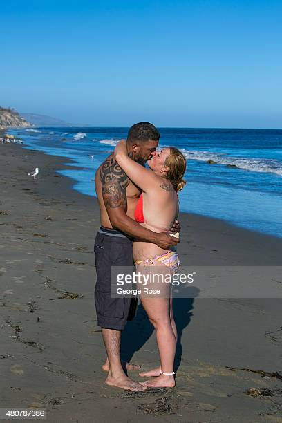 A couple shares a kiss and embrace at Gaviota State Beach on June 20 near Santa Barbara California Because of its close proximity to Southern...