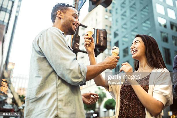 Couple Sharing Ice Cream Downtown L.A.