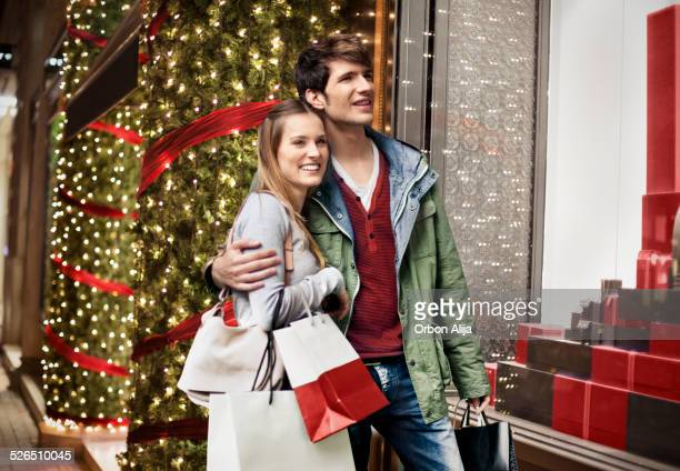 Couple shopping at Christmas