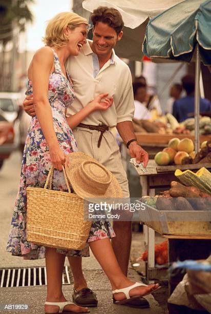 Couple shopping at outdoor market, Bridgetown, Barbados