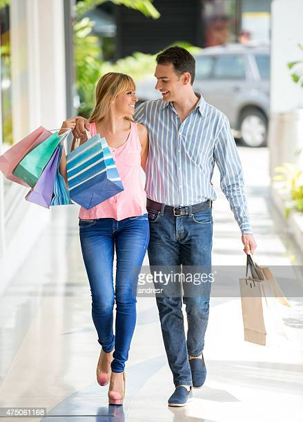 Couple shopping at the mall