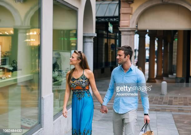 couple shopping city