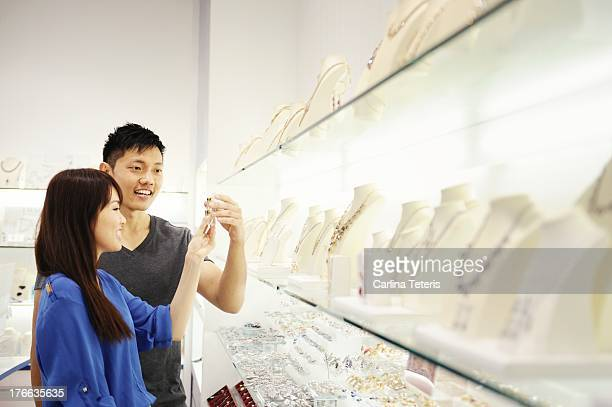 A couple shopping for jewelry