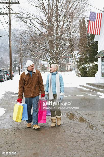 Couple shopping in a small town