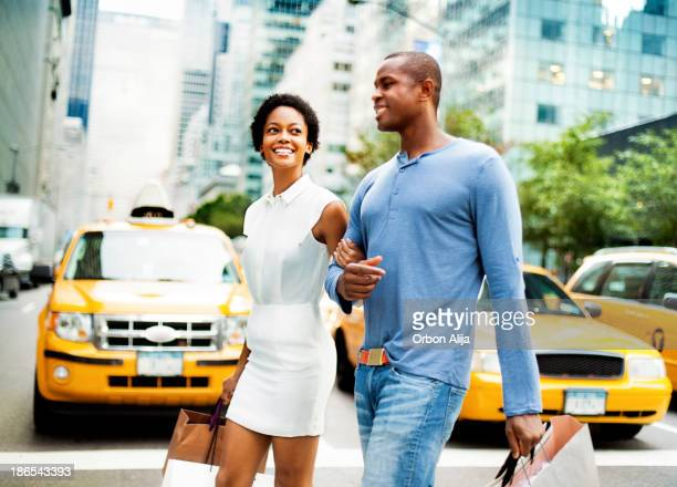 Couple shopping in NY