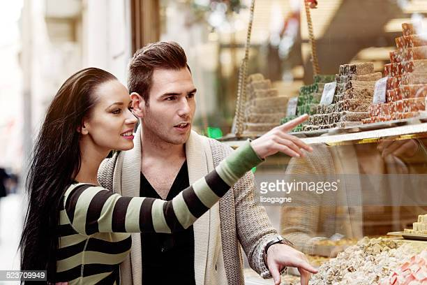 Couple shopping turkish delight