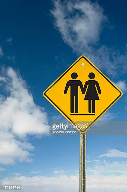couple sign - give way stock pictures, royalty-free photos & images