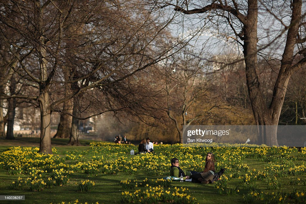 A couple sit amongst daffodils in St James's Park on March 1, 2012 in London, England. After a recent cold snap Britain is expected to see a short period of unseasonably mild weather following one of the driest February's on record according to the Met Office.
