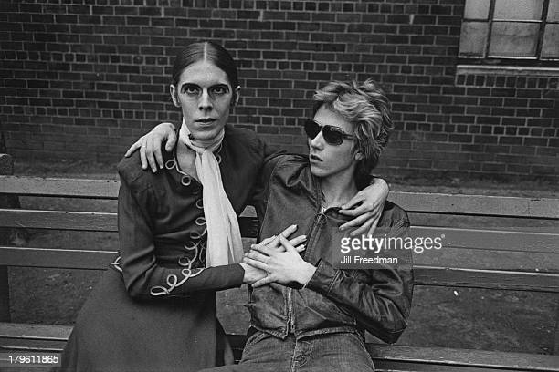 A couple sit on a bench in Greenwich Village New York City 1973